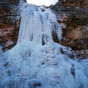 Frozen waterfall with our ropes  we were rappelling ithellip