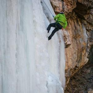 Frozen waterfall rappel Arizona canyoneering ice canyoning canyon waterfall